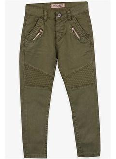 Jack Lions Erkek Çocuk Gabardin Pantolon Fermuar Aksesuarlı Haki Yeşil